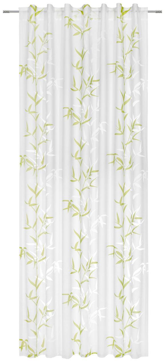 Schlaufenvorhang Bambus, ca. 140x245cm - Weiß/Grün, Textil (140/245cm) - Mömax modern living