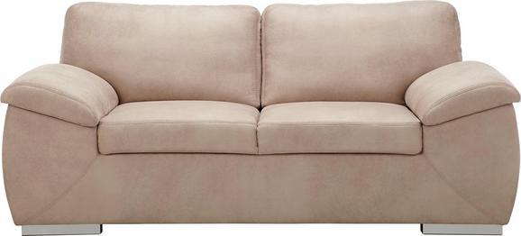 Zweisitzer-Sofa Sandfarben - Sandfarben/Chromfarben, KONVENTIONELL, Holz/Textil (190/84/91cm) - Based