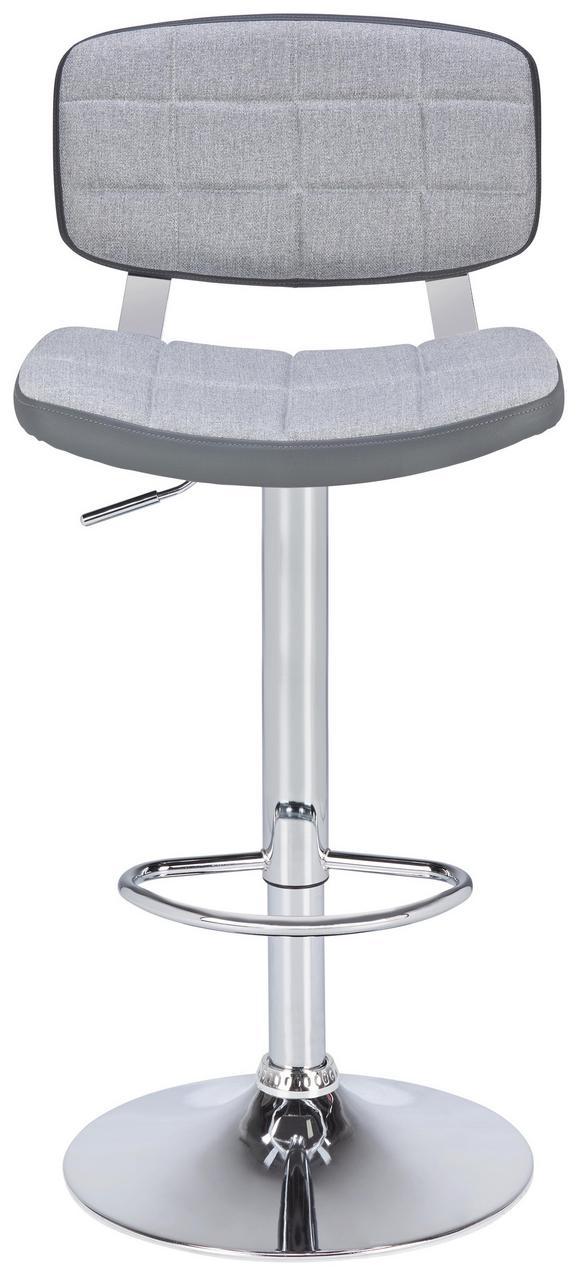 Barhocker Grau - Chromfarben/Grau, MODERN, Textil/Metall (45,50/88-109/47cm) - Modern Living