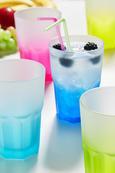 Trinkglas Sandy in verschiedenen Farben - Türkis/Pink, MODERN, Glas (0,40l) - Mömax modern living