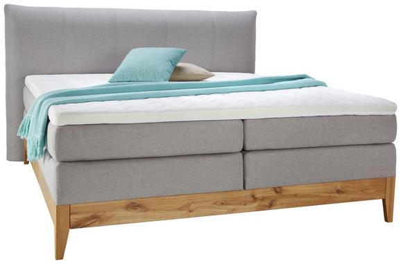 Boxspringbett in Grau ca. 160x200cm - Eichefarben/Grau, KONVENTIONELL, Holz/Textil (160/200cm) - Premium Living