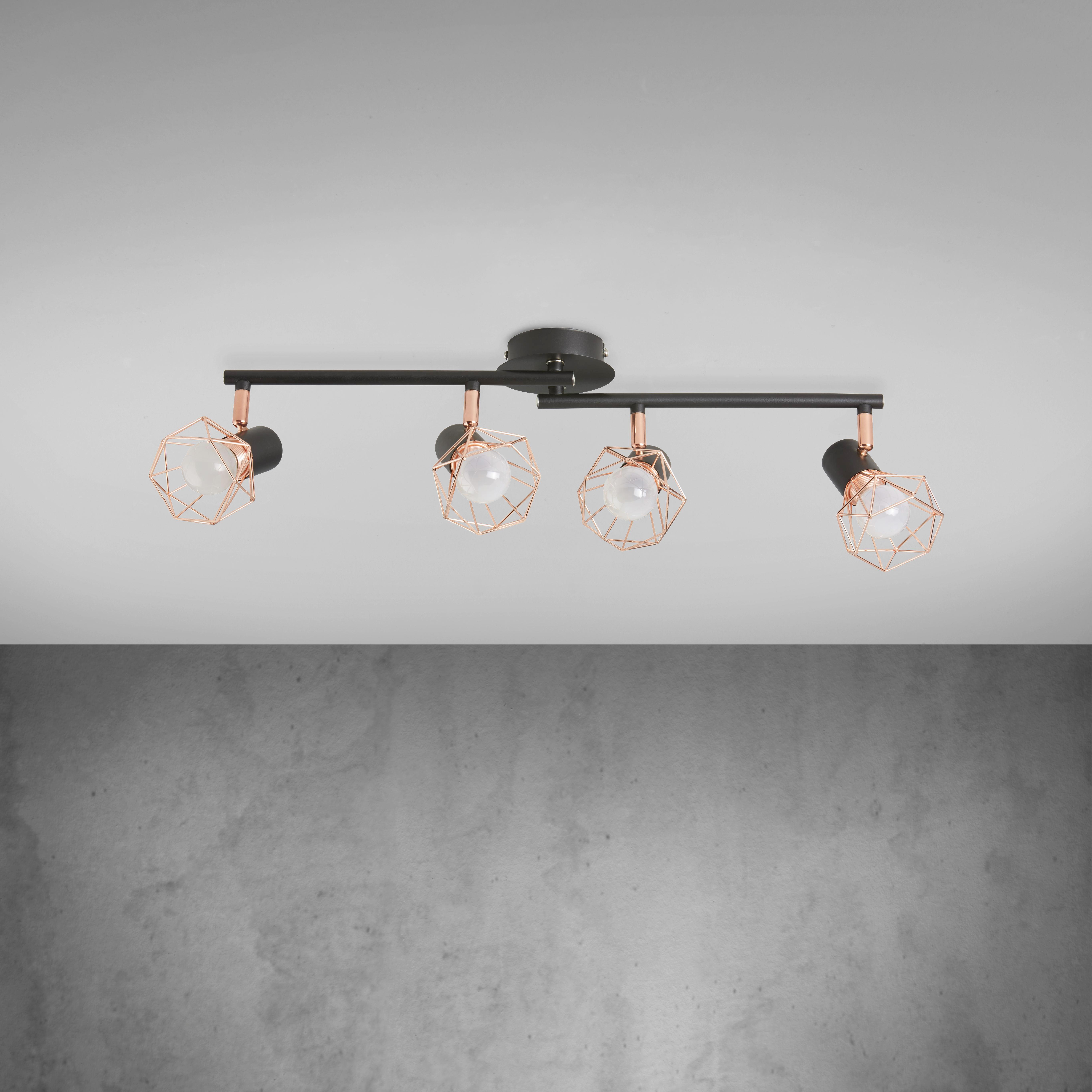 Deckenleuchte Jessy - Schwarz/Kupferfarben, MODERN, Metall (75/9/15cm) - MODERN LIVING