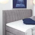 Boxspringbett in Grau ca. 180x200cm - Chromfarben/Grau, KONVENTIONELL, Kunststoff/Textil (180/200cm) - Premium Living