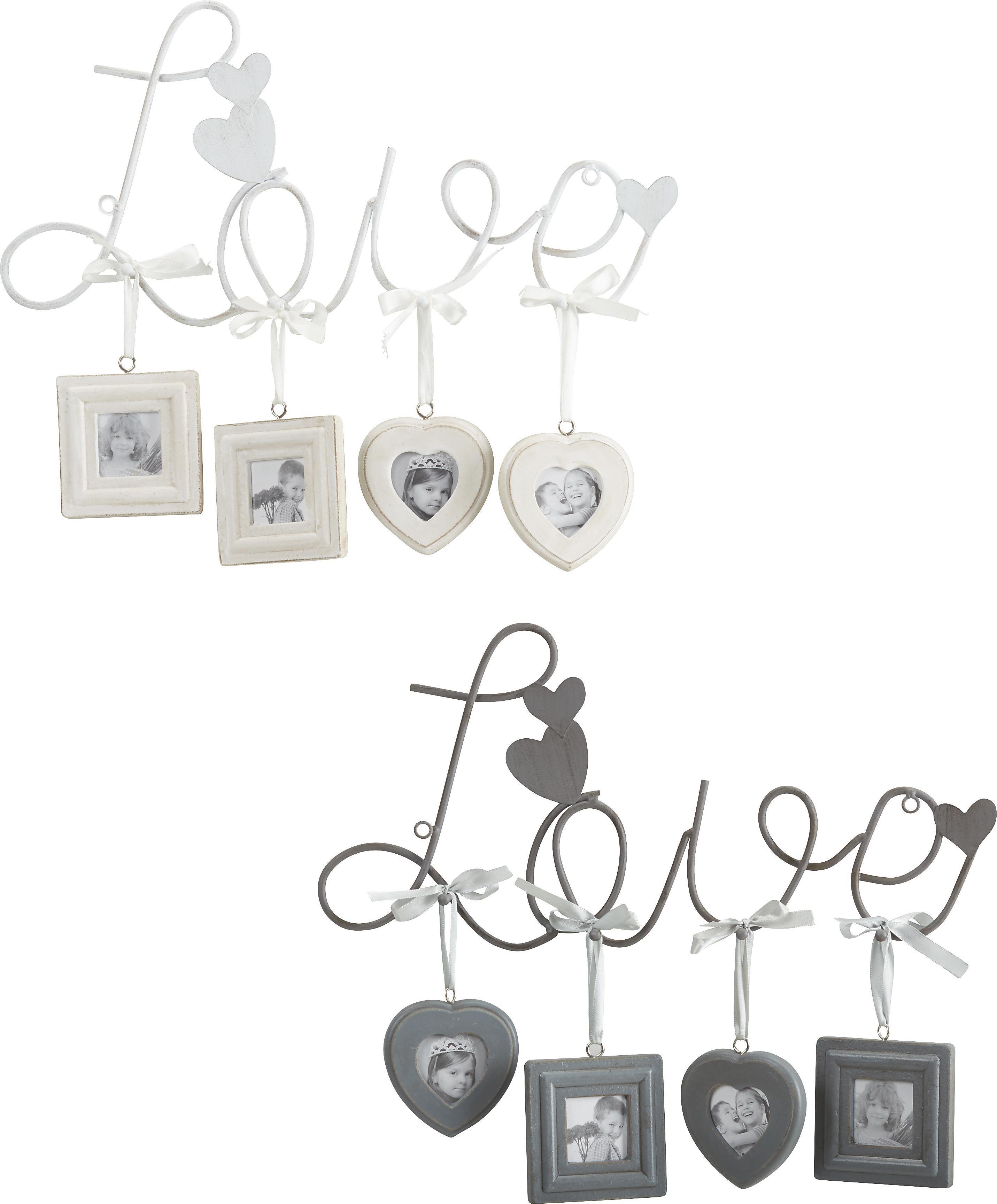 Fotorahmen Love/family, ca. 40x32cm - Weiß/Grau, ROMANTIK / LANDHAUS, Metall (40/32cm) - MÖMAX modern living