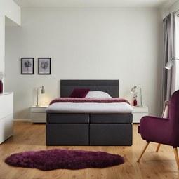 Boxbett Rosa ca.140x200cm inkl. Topper - Dunkelgrau, MODERN, Holz/Textil (205/140/103cm) - Modern Living