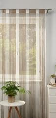 Zsinórfüggöny String - Barna/Szürke, Textil (90/245cm) - Premium Living