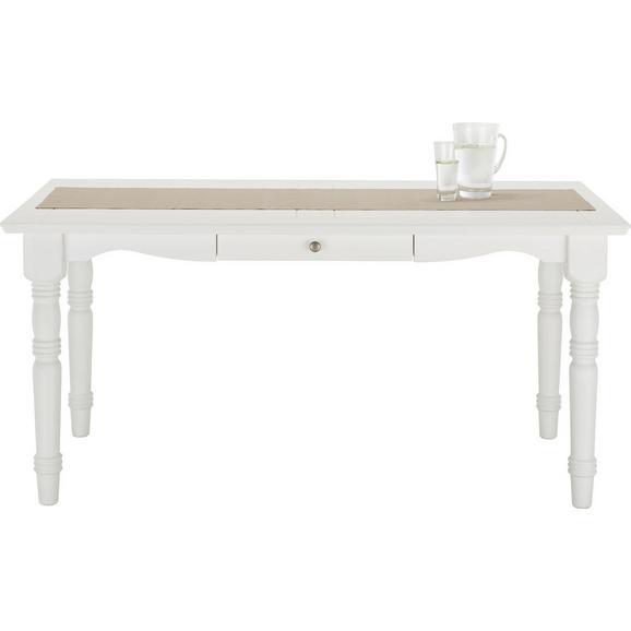 Esstisch aus Kiefer Massiv - Weiß, ROMANTIK / LANDHAUS, Holz (160/76/85cm) - Zandiara