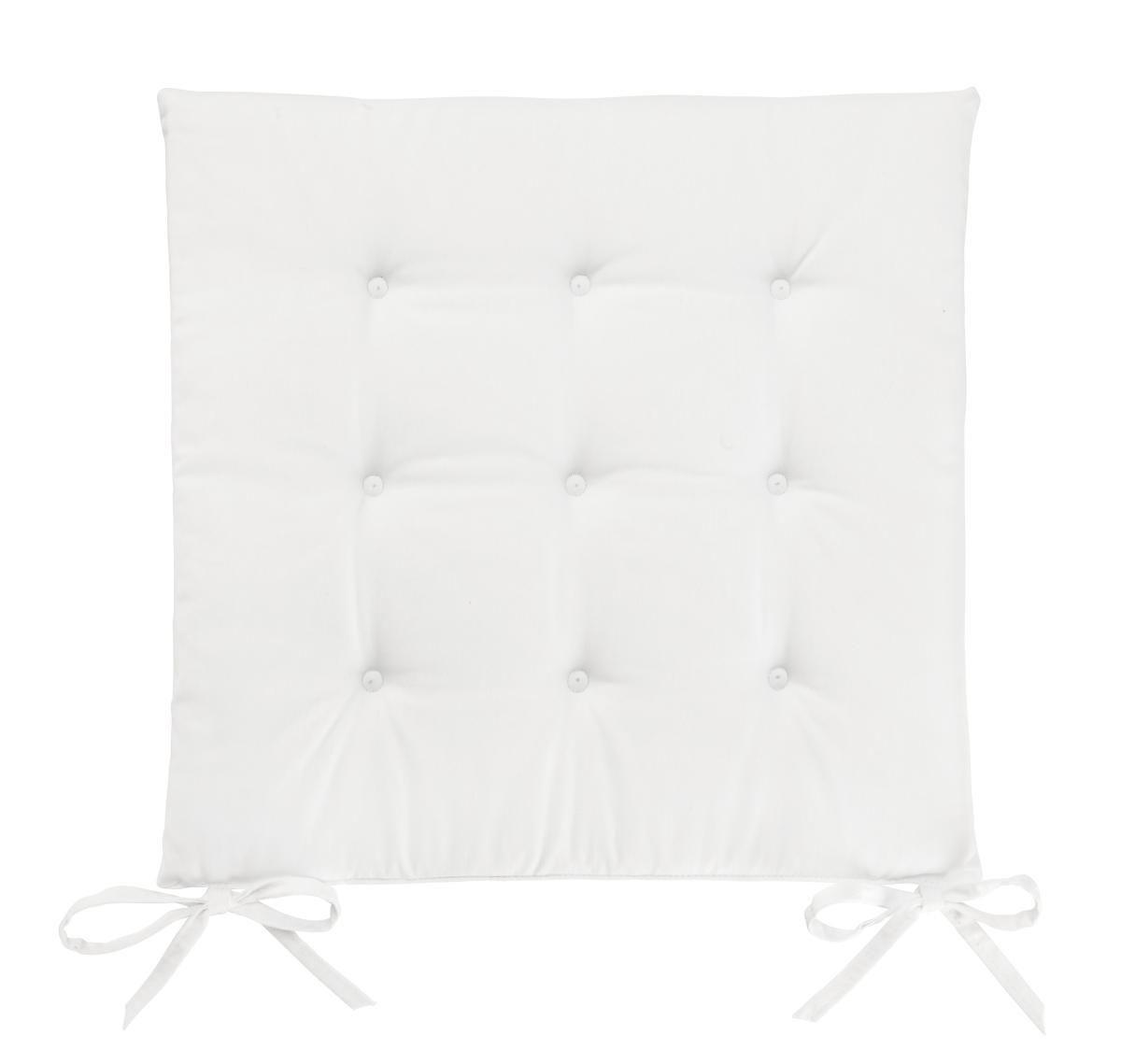 Sitzkissen Lola in Weiß, ca. 40x40cm - Naturfarben, Textil (40/40/2cm) - BASED