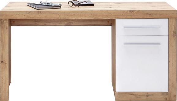 Schreibtisch Weiß/Eichefarben - Eichefarben/Alufarben, MODERN, Holzwerkstoff/Kunststoff (150/76/60cm) - Mömax modern living