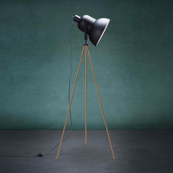 Stehleuchte John - Schwarz, MODERN, Holz/Metall (62/152cm) - Modern Living