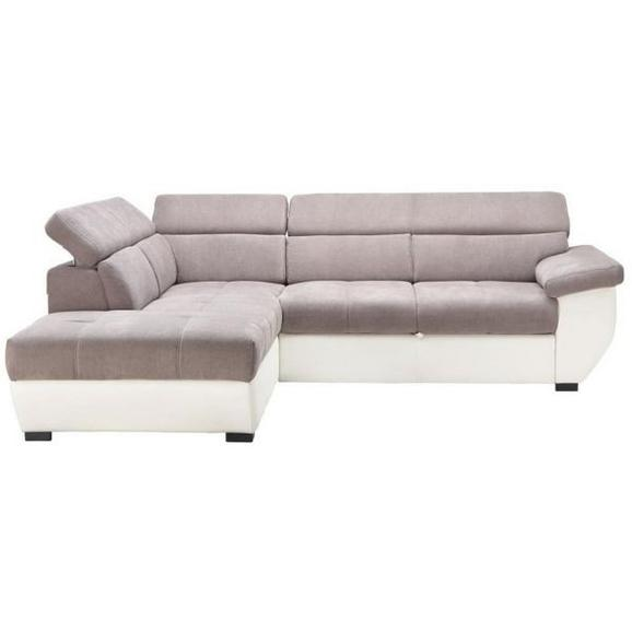 Wohnlandschaft in Grau mit Bettfunktion - Schwarz/Weiß, MODERN, Textil (224/262cm) - Modern Living