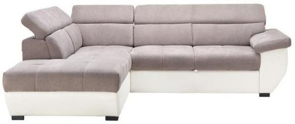 Wohnlandschaft in Grau/Weiß mit Bettfunktion - Schwarz/Weiß, MODERN, Textil (224/262cm) - Modern Living
