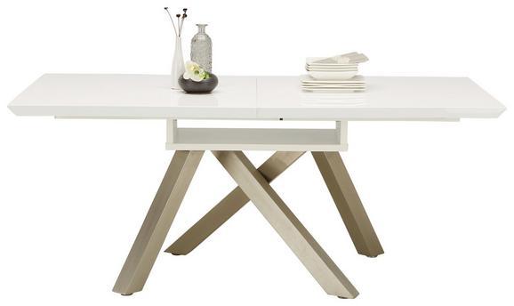 Esstisch in Weiß Hochglanz Ausziehbar - Weiß/Nickelfarben, MODERN, Holzwerkstoff/Metall (180-240/76/90cm) - Modern Living