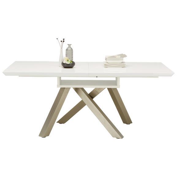 Jedilna Miza Theo Ca. 180-240x90 Cm - bela/nikelj, Moderno, kovina/leseni material (180-240/76cm) - Modern Living