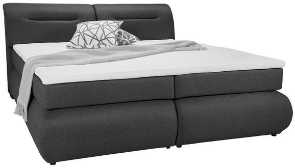 Boxspringbett Anthrazit 140x200cm - Anthrazit/Schwarz, Kunststoff/Textil (240/150/100cm) - Premium Living