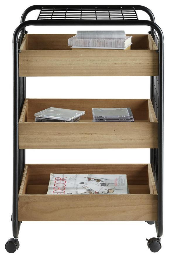 Rollcontainer Braun/Schwarz - Schwarz/Braun, MODERN, Holz/Kunststoff (52/77/42cm) - Modern Living