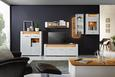 Highboard Weiß/Eichefarben - Chromfarben/Eichefarben, MODERN, Glas/Holzwerkstoff (100/116,5/40cm) - Modern Living