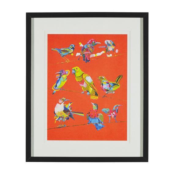 BILD BIRDY I ca.46X56X3CM - Multicolor/Schwarz, MODERN, Glas/Holz (46/56/3cm) - Bessagi Home