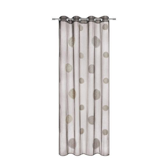Perdea Cu Inele Tip Capsă Circle - maro, Modern, textil (140/245cm) - Premium Living