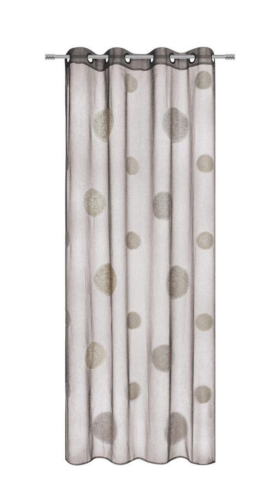 Zavesa Z Obročki Circle - rjava, Moderno, tekstil (140/245cm) - Premium Living