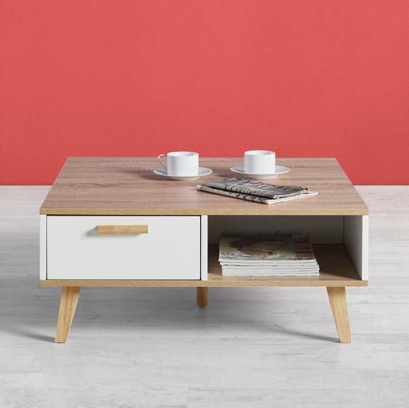 Couchtisch Claire 79x83cm - Naturfarben/Weiß, MODERN, Holz (79/83/34cm) - Modern Living