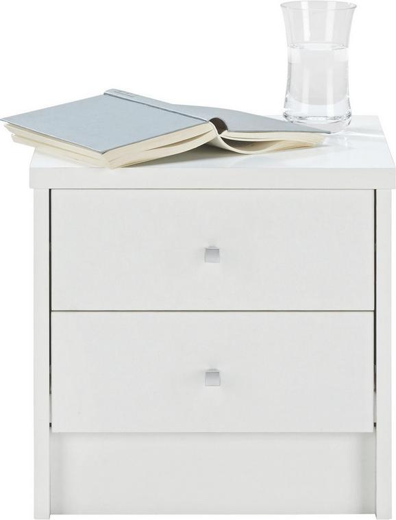 Nachtkästchen Weiß - Alufarben/Weiß, Holz/Kunststoff (37,4/37/33,5cm) - Modern Living