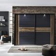 Dulap De Haine Bellevue - culoare lemn stejar/negru, Lifestyle, plastic/compozit lemnos (270/210/61cm)