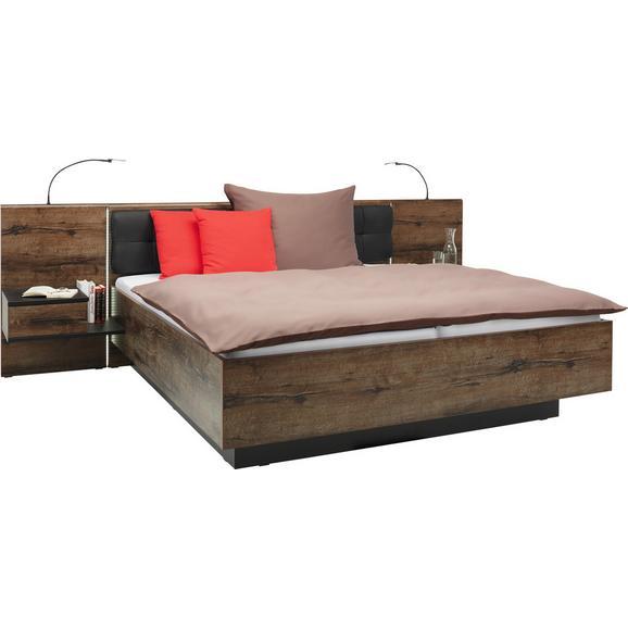 Cadru Pat Bellevue - culoare lemn stejar/negru, Lifestyle, plastic/compozit lemnos (208,7/304,6/96,5cm)
