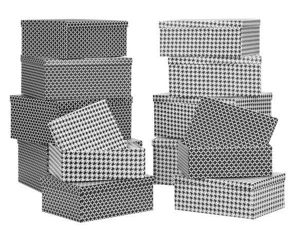 Box mit Deckel Paul aus Papier ca. 36x28x16cm - Schwarz/Weiß, Papier (36/28/16cm) - Mömax modern living