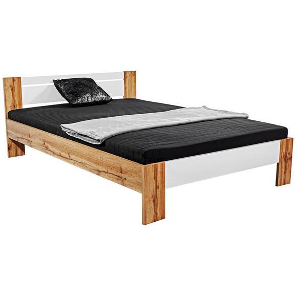 Futonska Postelja 140x200 Cm Vega - bela/hrast, Konvencionalno, tekstil/leseni material (145/35-71/204cm) - Mömax modern living