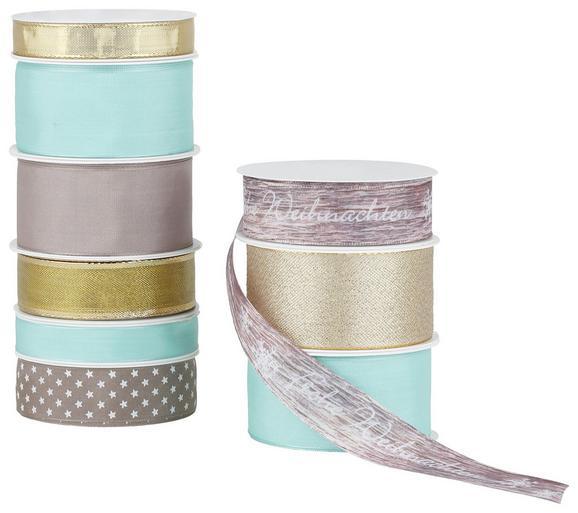 Geschenkband Roxana in mehreren Farben - Taupe/Türkis, Textil (8,5/8,5/2,6cm) - MÖMAX modern living