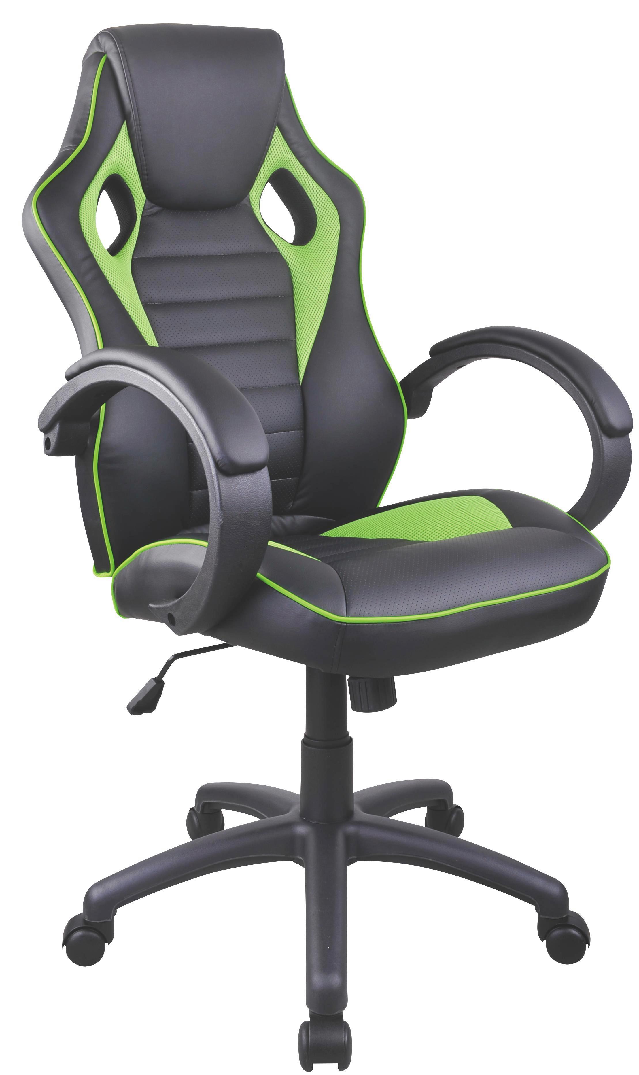 Főnöki Szék Speedy - fekete/zöld, modern, műanyag/textil (61/110-120/63cm)