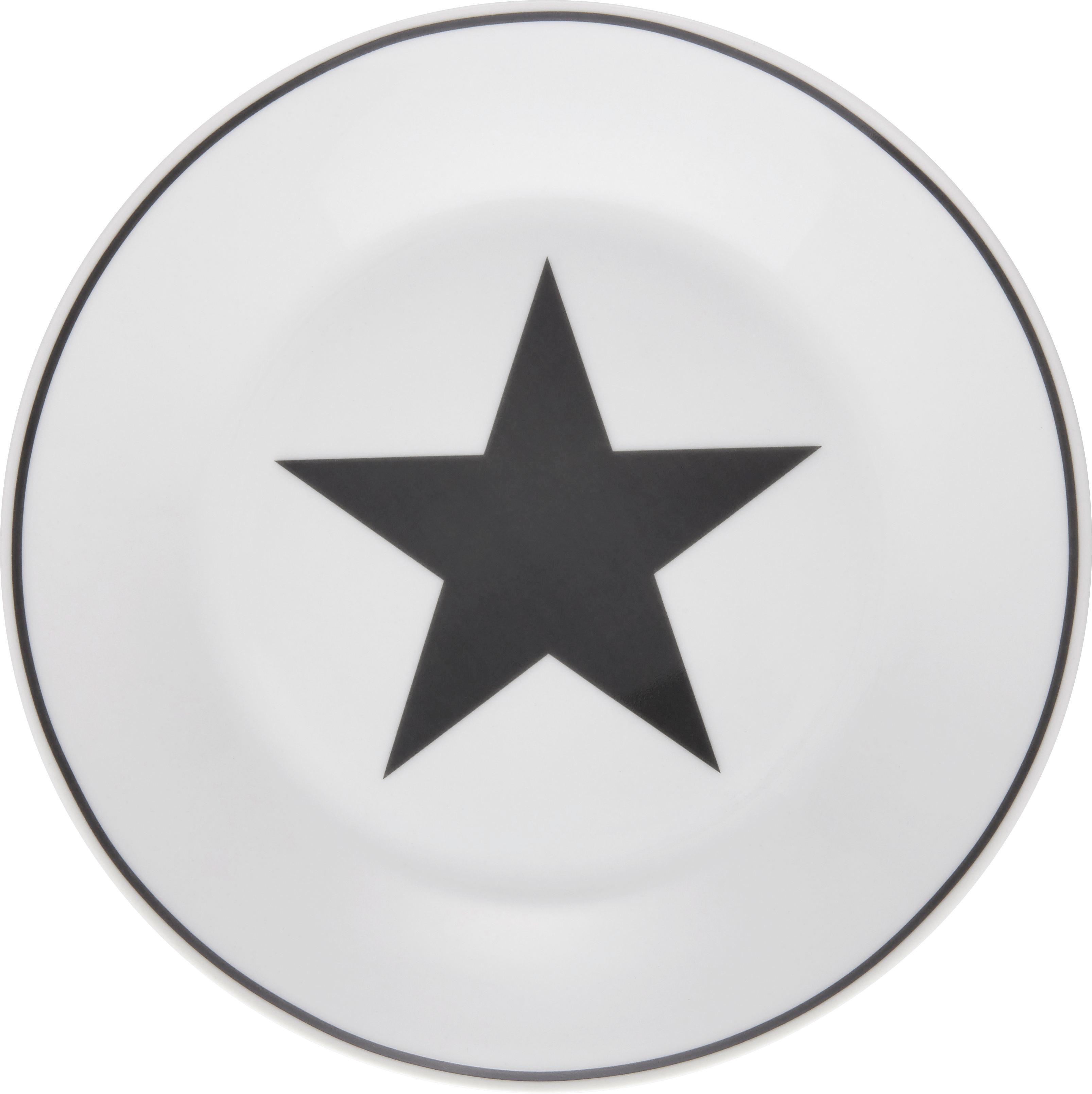 Desertni Krožnik Star - bela/antracit, Moderno, keramika (20,32cm) - MÖMAX modern living