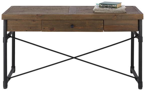 Schreibtisch in Naturfarben - Schwarz/Naturfarben, MODERN, Holz/Metall (135/76/60cm) - PREMIUM LIVING
