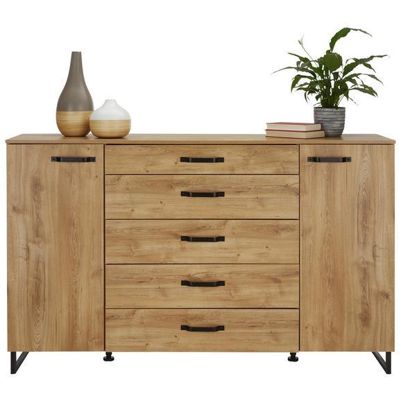 Komoda Alabama - hrast/rjava, Romantika, kovina/leseni material (139/92/41cm) - Premium Living