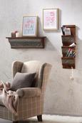 Fotelj Evita - siva/bež, Romantika, tekstil/les (83/102/87cm)
