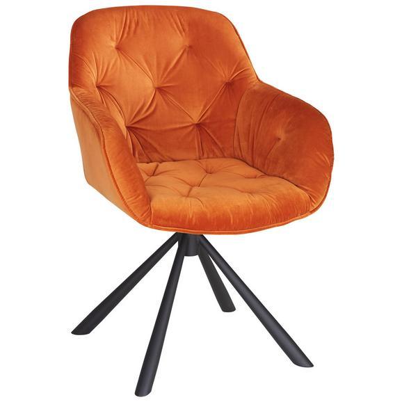 Armlehnstuhl aus Samt in Orange - Schwarz/Orange, LIFESTYLE, Holz/Textil (68/86/64cm) - Premium Living
