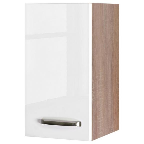 Küchenoberschrank Weiß Hochglanz/Eiche - Edelstahlfarben/Eichefarben, MODERN, Holzwerkstoff/Metall (30/54/32cm)