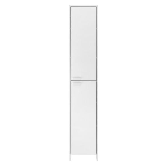 Hochschrank in Weiß - Chromfarben/Weiß, MODERN, Holzwerkstoff/Metall (37/198/20cm)