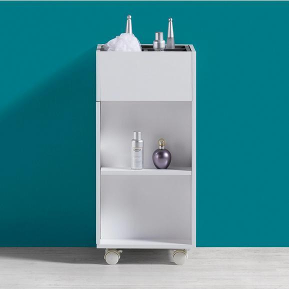 Unterschrank Weiß mit Rollen Bianco - Dunkelgrau/Weiß, MODERN, Holz/Kunststoff (30,6/66/30cm) - Bessagi Home