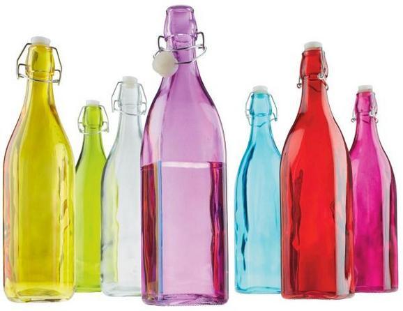 Saftflasche Martina aus Glas - Türkis/Gelb, Glas/Kunststoff (8/31,5cm) - Mömax modern living