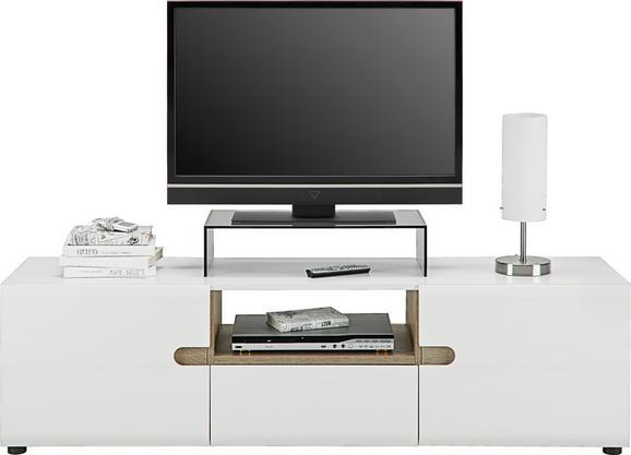 Phonotisch Weiß Hochglanz/Eichefarben - Eichefarben/Weiß, MODERN, Holzwerkstoff (164/46/42cm) - Modern Living