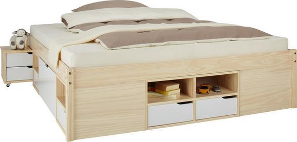 Bett Weiß/Kiefer 160x200cm - Naturfarben/Weiß, MODERN, Holz (209/166/48cm) - Zandiara