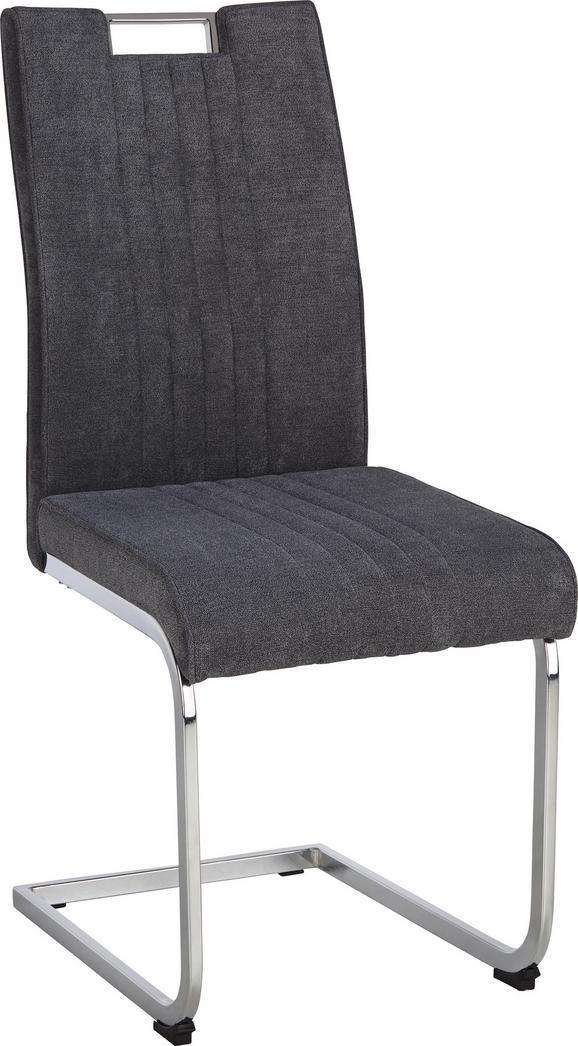Nihajni Stol Katja - siva/krom, Moderno, kovina/tekstil (42/98/56cm) - Modern Living