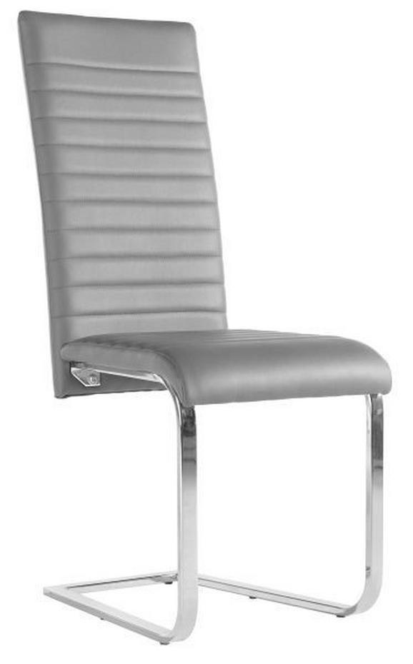 Schwingstuhl in Grau - Chromfarben/Grau, MODERN, Textil/Metall (44/102/60cm) - BASED