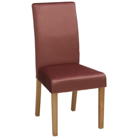 Stuhl aus Samt in Beere - Beere/Naturfarben, MODERN, Holz/Textil (47/100/60cm) - Zandiara