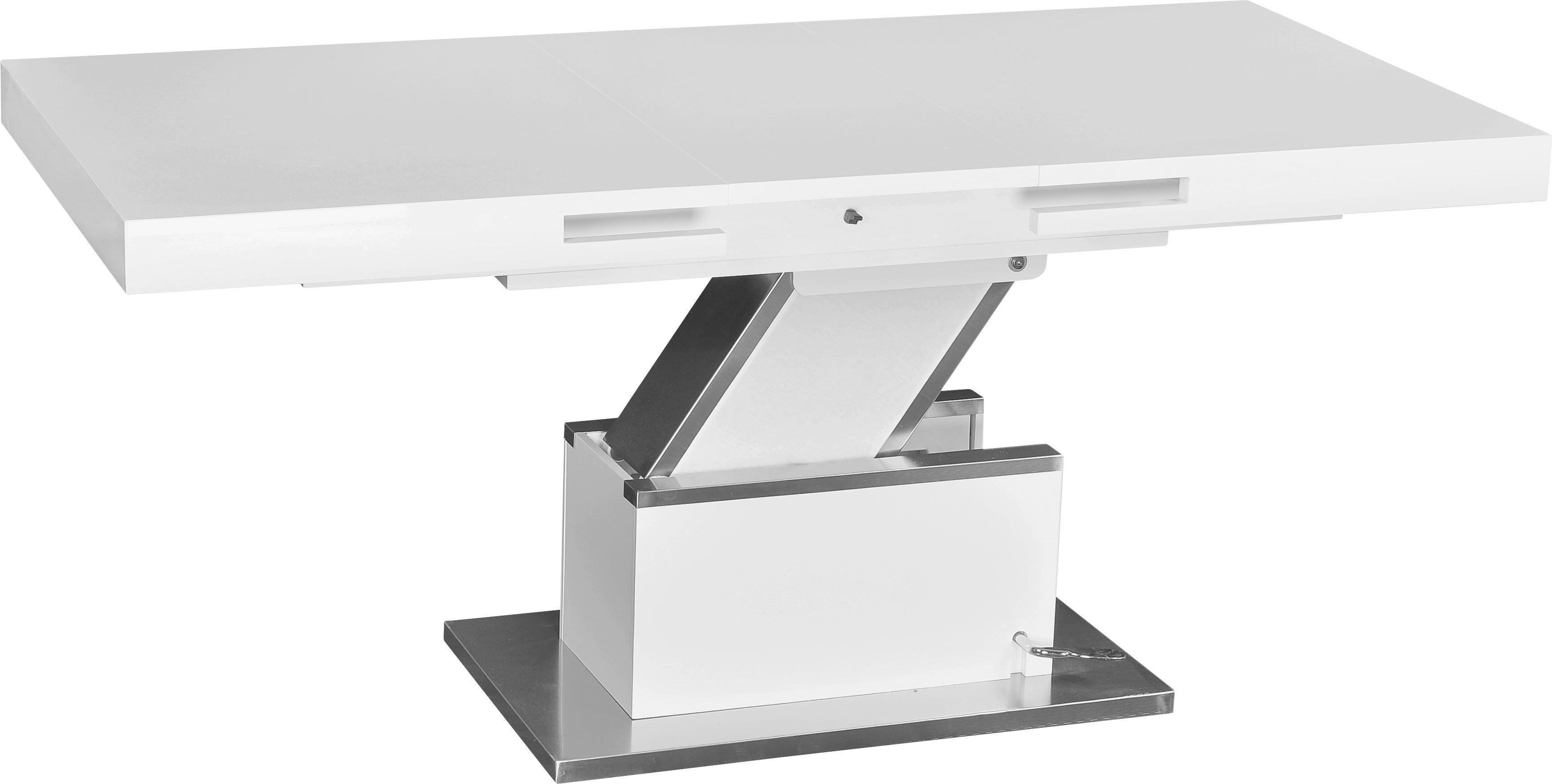 Couchtisch in Weiß - Edelstahlfarben/Weiß, MODERN, Holzwerkstoff/Metall (133/170/47,5/75/80cm) - PREMIUM LIVING