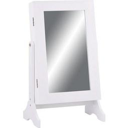 Schmuckschrank in Weiß mit Spiegel - Weiß, MODERN, Glas/Holzwerkstoff (35/60/23,3cm) - Mömax modern living