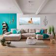 Wohnlandschaft in Beige mit Bettfunktion - Chromfarben/Beige, MODERN, Textil (210/411/170cm) - Modern Living