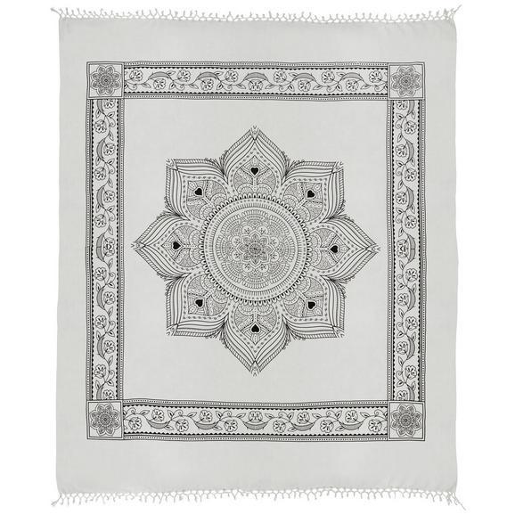 Strandtuch Laila in Weiß ca. 210x240cm - Schwarz/Weiß, Textil (210/240cm) - Mömax modern living